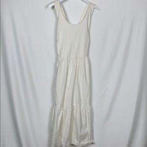 Tahari white dress linen blend size 10 strap cross
